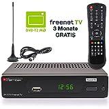 Opticum DVB-T2 Receiver inklusive DVB-T AX 570 Freenet TV digitaler H.265 Empfänger inklusive DVB-T Antenne in schwarz