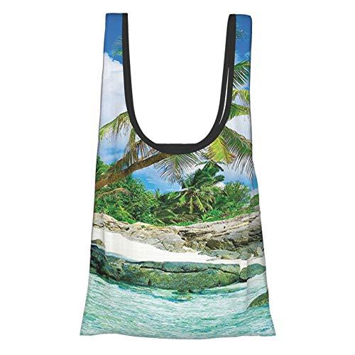 Coastal Decor Collection Bunte Sonnenuntergang-Reflexion über Ozean, Abendhorizont, romantische Landschaft, Bild, wiederverwendbare Einkaufstasche, umweltfreundliche Einkaufstasche