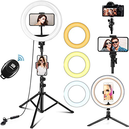 10' Ring Light with Tripod Stand Phone Holder, Bluetooth Receiver with Dimmable 3 Light Modes & 10 Brightness Level for YouTube/Instagram/Video/Photography/Live Streaming