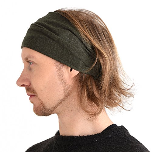 CHARM Casualbox Leinen Kopf Band Bandana natürlich elastisch Haarband Sport Mode wickeln khaki