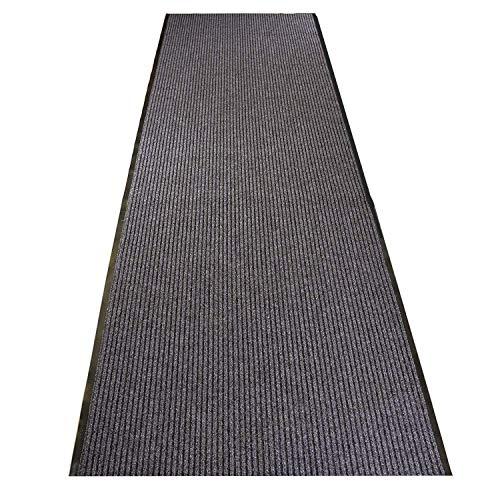 uyoyous Teppichläufer rutschfest 300 x 90 cm Streifenmuster schmutzfänger Schmutzstopper Teppich Läufer Schmutzfangmatte mit Rutschfester Rücken für Wohnzimmer Schlafzimmer Küche Büro Flur - Grau