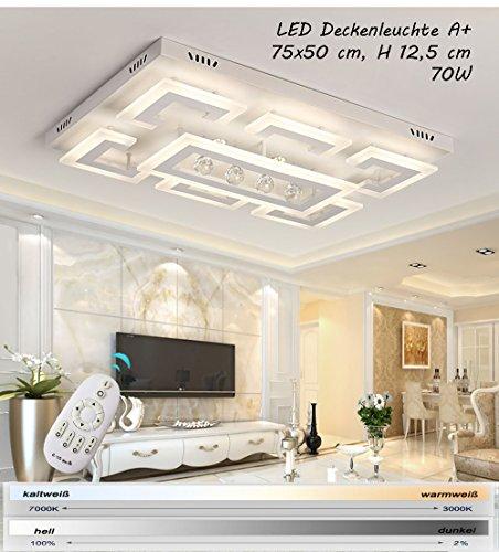 LED Deckenleuchte XW803 mit Fernbedienung ist die Lichtfarbe/Helligkeit einstellbar A+LED Wohnzimmerleuchte Kronleuchte Pendelleuchte Deckenlampe(XW803-75x50 cm, 70W)