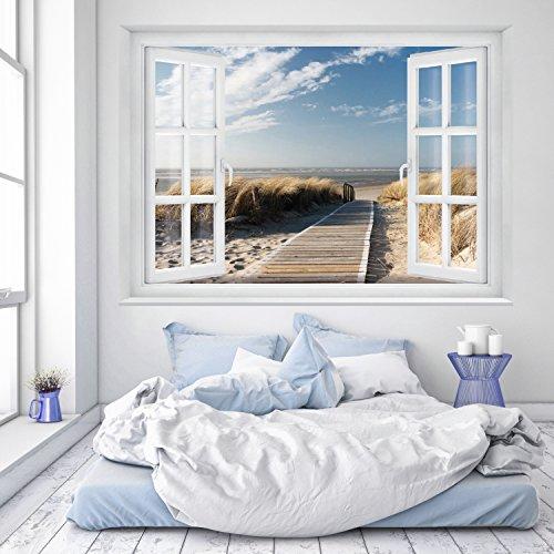 murimage Fototapete Strand Fenster 183 x 127 cm inklusive Kleister Fenster Ausblick Meer Strand Dünen Ozean Ocean Way Tapete