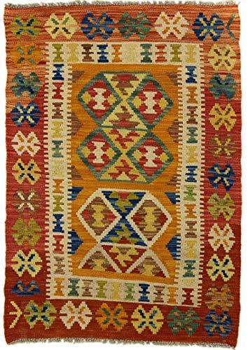 CarpetFine: Kelim Afghan Teppich 77x110 Orange - Geometrisch
