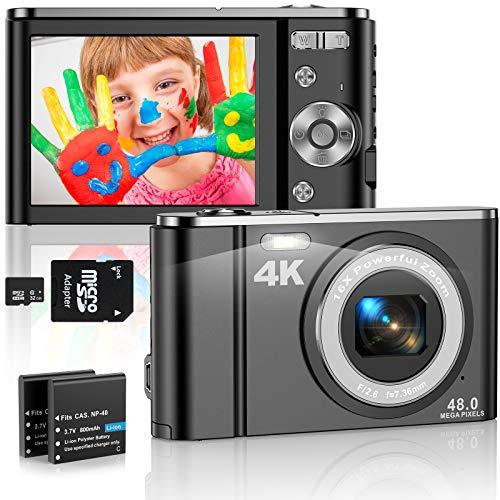 4K Digitalkamera 48MP Kompaktkamera 16X Digital Zoom 2.8'' LCD Bildschirm Wiederaufladbare Mini-Taschenkamera mit LED Fülllicht, 32G SD Karte und 2 Batterien, Geschenk für Kinder Anfänger