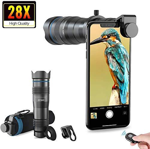 Apexel HD Handyobjektiv 28X Teleobjektiv mit Auslöser für iPhone Samsung, Huawei, Xiaomi Android Smartphone, Monokular Teleskop