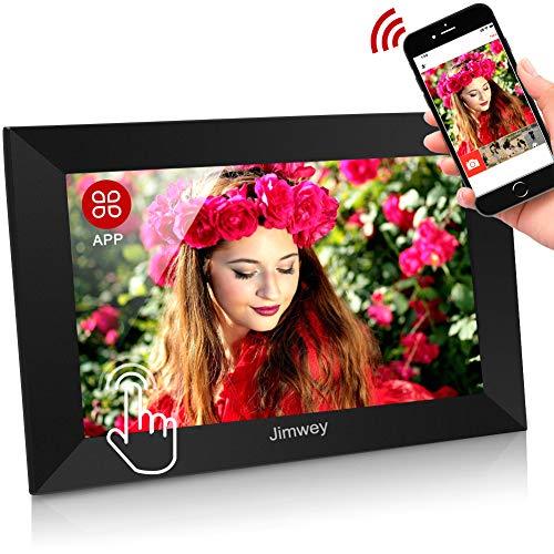 WLAN Digitaler Bilderrahmen WiFi Elektronischer Fotorahmen mit 10 Zoll 1280P IPS Full HD Touchscreen 16GB Cloud Speicher Automatische Drehung, Foto Video über App aus Handy sofort teilen