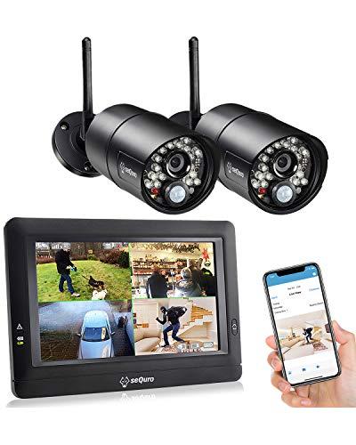 SEQURO GuardPro DIY überwachungssystem mit Tragbar Einfach zu verwenden 7' Funk-Touchbildchirm. 1 HD 720p Sicherheitskameras. IP66/Wetterfest Kameras (720P, Set - 2 Kamera)