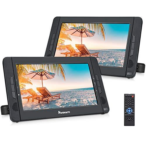 NAVISKAUTO 10,1' Auto DVD Player HDMI Eingang Tragbarer DVD Player 5 Stunden Akku Kopfstütze Monitor Dual Bildschirm mit 2 Kopfstützenhalterung