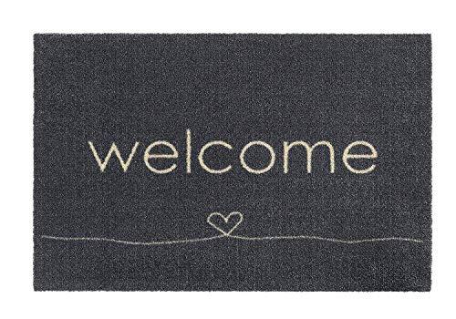 Fussmatte Grau Innen Waschbar | Fußmatte Herz Rutschfest Groß | Design Abstreifer Modern | Matte Anthrazit | Fussabstreifer Eingangsbereich | Fußabstreifer Haustür | 50 x 75 cm | Motiv: Welcome