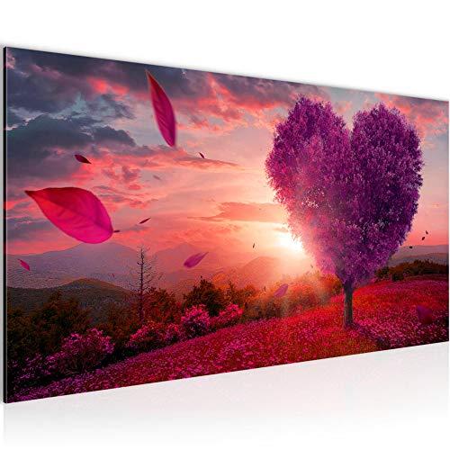 Wandbilder Herbst Baum Herz Modern Vlies Leinwand Wohnzimmer Flur Landschaft Lila Violett 605812b