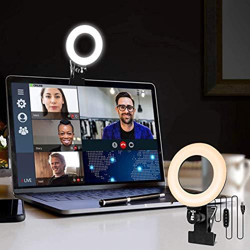 LAVKOW 16cm Videokonferenz-Beleuchtungsset mit Clip für Mobiltelefone Dimmbares LED Makeup Licht für Live Stream/Fotografie/Zoom-Meeting/Fernarbeit/YouTube/TikTok-Gweißes Licht