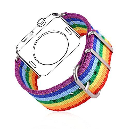 bandmax Armband für Apple Watch, Fashion Regenbogen Uhrenarmband Hochwertige Denimstoff Ersatzarmband Wrist Armband für Apple Watch 42MM Series 3/2/1