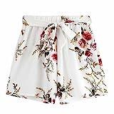 Bekleidung AMUSTER Damen Sommer Strand Shorts Hosen Frauen Drucken Hotpants mit Gürtel Loose Fit Blumen Shorts Kurze Hosen Damenhosen Shorts für Frauen Mädchen (XL, Weiß)