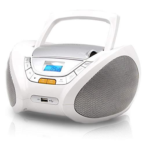 LAUSON CP443 CD Player mit Radio | CD/CD-R | USB | FM Radio | AUX-In | Boombox CD Radio Player | Netz & Batterie | kopfhöreranschluss (Weiß)