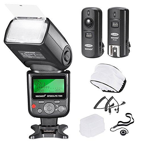 Neewer 750II TTL-Blitz Speedlite mit LCD Display Kit für Nikon DSLR Kameras Enthält: (1) 750II TTL-Blitz (1) 2,4G Funkauslöser mit N1/N3 Kabel (1) Soft /Hard Diffusor (1) Objektivdeckelhalter