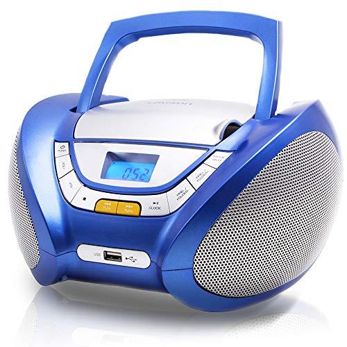 LAUSON CP446 CD Player | USB | Stereoanlage Boombox | CD Radio Tragbar | Kinder Radio mit Cd Spieler | USB kopfhöreranschluss | Cd Player für Kinder (Blau)