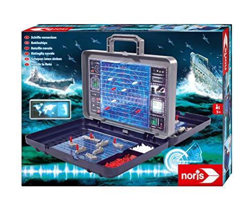 Noris 606100335 Schiffe Versenken, Reiseversion des bekannten Spieleklassikers im Koffer, für Kinder ab 5 Jahren, Mehrfarbig