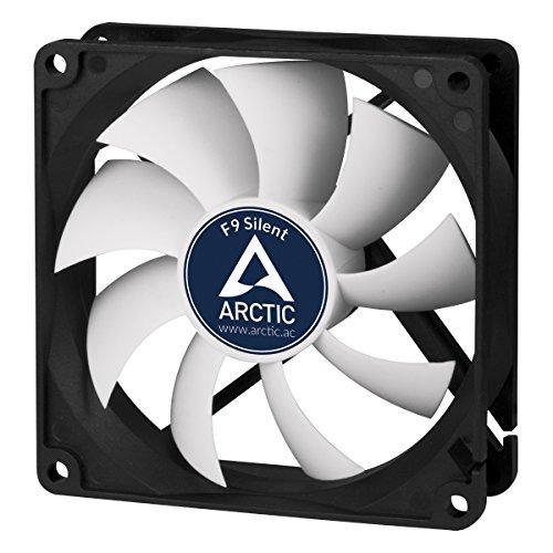ARCTIC F9 Silent - Besonders leiser 92 mm Gehäuselüfter, Case Fan mit Standardgehäuse, nahezu lautlos, Push- oder Pull Konfiguration möglich, 1000 U/min., Schwarz