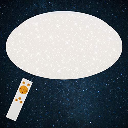 Briloner Leuchten - LED Deckenleuchte mit Sternendekor, Deckenlampe dimmbar, Farbtemperatur einstellbar, 40 W, 4000 Lumen, Ø: 49.5cm
