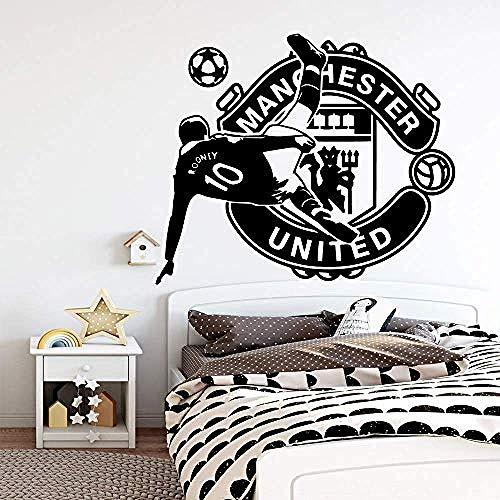 Bunte Manchester United Fußball Wandaufkleber abnehmbare Wandtattoos DIY Wallpaper für Kinderzimmer Sofa Hintergrund Dekor 43X51Cm