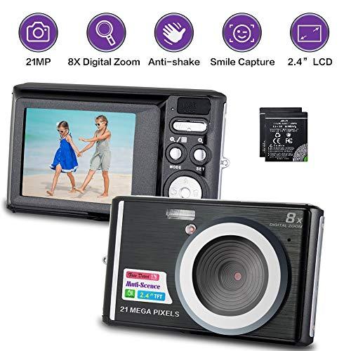 Digitalkamera 21 Megapixel Fotoapparat Digitalkamera mit 8-fachem Digitalzoom 2,4 Zoll LCD Kompaktkamera mit Zwei Batterien für Kinder, Studenten und Erwachsene