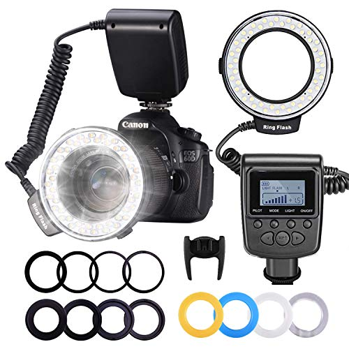 Neewer 48 Makro LED Ringblitzleuchte Set für Canon/Nikon/Panasonic/Olympus/Pentax SLR Kamera (Makro Ring Kopf, Leistungsregler mit LCD Anzeige, 4X Blitz-Diffusor, 8X Adapterring)