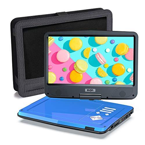 SUNPIN Tragbarer DVD-Player für Auto und Kinder mit Halterung, 10.5' HD-Bildschirm, 5 Stunden wiederaufladbare Batterie, fernsteuerung Auto Ladegerät Wand Ladegerät, Region Frei, Blau