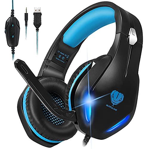 Stynice Gaming Headset mit Mikrofon - 50mm Treiber Crystal Clear Surround Sound Over Ear Gaming Kopfhörer mit Noise Cancelling Mic und LED Licht für PC PS4 PS5 Xbox One Laptop Smartphone (Blau)