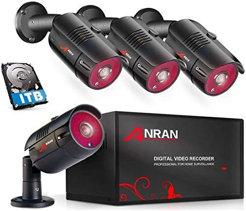 ANRAN 4CH 1080N Überwachungskamera System DVR Video Recorder mit 1TB Festplatte Speicher 4Stk HD 1080P Überwachungskameras Außen Innen Nachtsicht Bewegungsmelder Fernzugriff