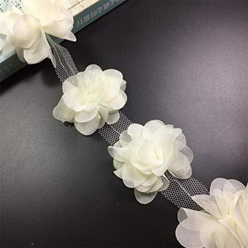 Gxbld-yy 24 stücke 6cm Blumen 3D Chiffon Cluster Blumen Spitze Kleid Dekoration Spitze Gewebe Applique Trimmen Nähen Vorräte (Farbe : Beige)