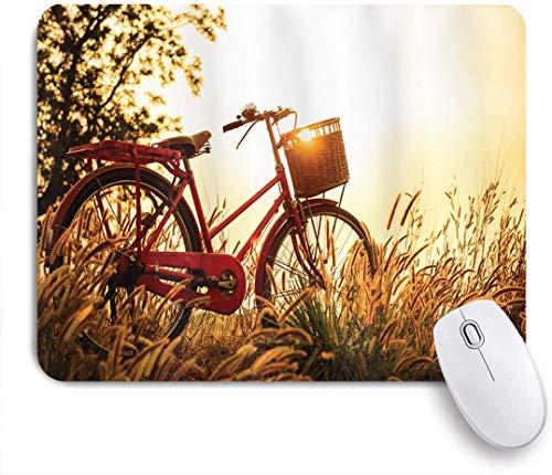 Geevosun Mauspad Fahrrad klassisches Retro-Stil Fahrrad in Sepia-Tönen romantischen Sonnenuntergang ländlichen Blick Bild angepasste Kunst Mauspad rutschfeste Gummibasis für Computer Laptop Schreibtis