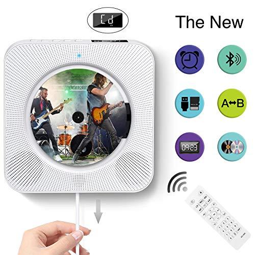 CD Player Wandmontage Bluetooth-Lautsprecher Boombox, CD Radio Kinder tragbarer CD Players mit LED-Anzeige, unterstützt FM / MP3 / USB / 3,5 mm weiße Kopfhörerbuchse
