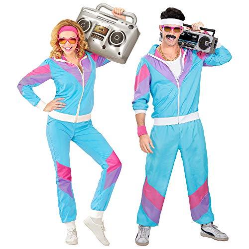 Widmann - Kostüm 80er Jahre Trainingsanzug, Jacke und Hose, angenehmer Tragekomfort, Assi Anzug, Proll Anzug, Retro Style, Bad Taste Party, 80ties, Karneval