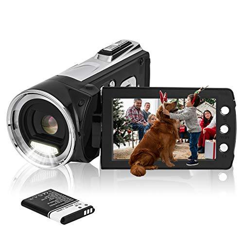 HG8162 Digitale Videokamera 1080P FHD Camcorder 24MP / 2,7' TFT LCD-Bildschirm / 270 Grad drehbarer Camcorder für Kinder/Jugendliche/Studenten/Anfänger/ältere Menschen Weihnachtsgeschenke