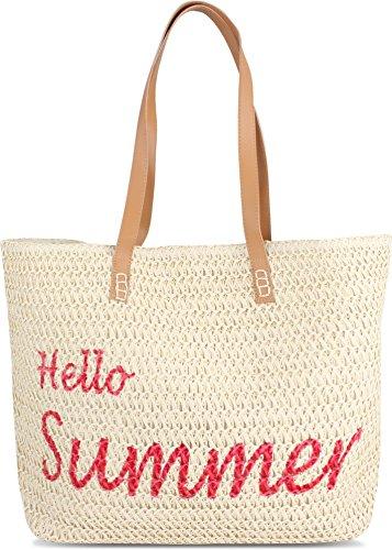 normani Große Strandtasche Schultertasche Einkaufstasche Shopper Badetasche Beachbag für Damen Weekend Bag Farbe Hello Summer
