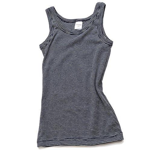 HERMKO 2680005 Knaben Unterhemd angeraut, Größe:104, Farbe:Marine Ringel