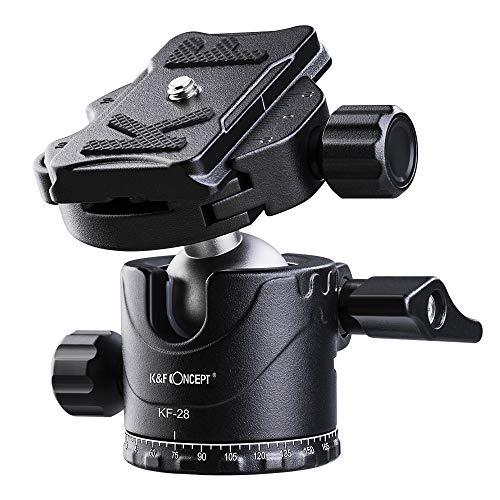 K&F Concept Kugelkopf Stativkopf, Kamera Kugelkopf mit 1/4 Zoll Schnellwechselplatte und Wasserwaagee, 10 kg Tragkraft, für Stativ, Einbeinstativ, Kamera Slider, Spiegelreflexkamera