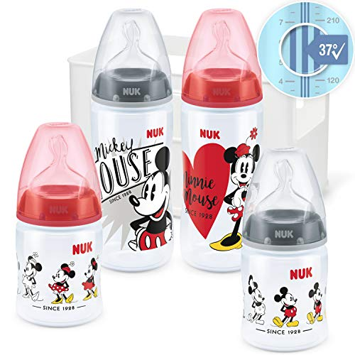 NUK Disney Micky Mouse First Choice + Babyflaschen Starter Set   4 Anti-Colic Babyflaschen (2x 150ml & 2x 300ml)   Temperature Control Anzeige   Silikonsauger   Flaschenbox   BPA-frei