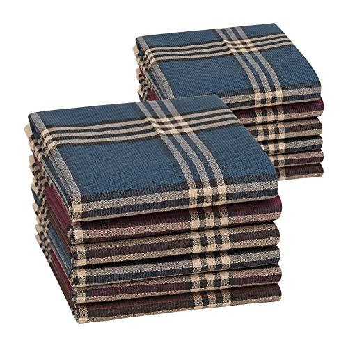 HOULIFE 12 Stücke Herren Taschentücher aus Reiner Baumwolle 40x40cm 3 Farben für Alltagsgebrauch