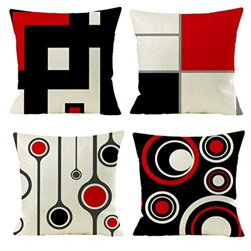 Gspirit 4er Set Kissenbezug Dekorative Dekokissen Kissenhülle Modern Schwarz Rot Geometrisch Muster Baumwolle Leinen Werfen Sie Kissenbezüge 45x45 cm