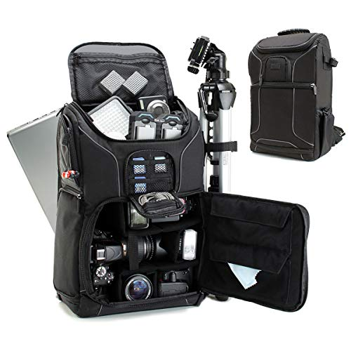 USA Gear DSLR Kamerarucksack, Foto Rucksack Anti-Shock Kameratasche mit 43,18 cm Laptop-Tasche, Wasserdichte Abdeckung, Verstellbare Linse Lagerung & Stativhalter - Schwarz