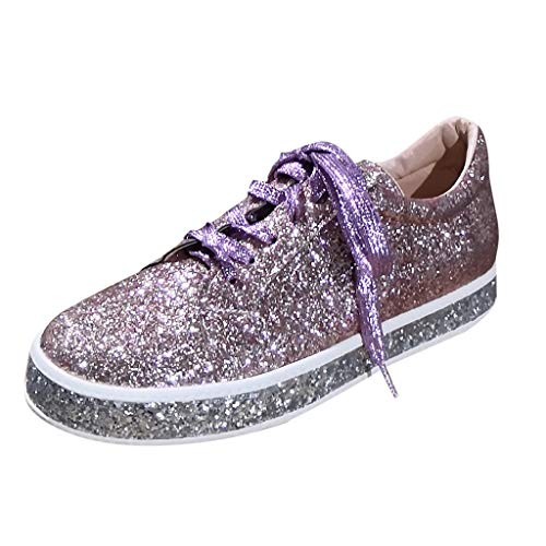 Flatform Sneaker für Damen/Dorical Frauen Damen Pailletten Glitzer Lackleder Elegant Sneakers Outdoor Schnürer Sportschuhe Laufschuhe Glänzende Schuhe Freizeitschuhe Ausverkauf(Khaki,41 EU)