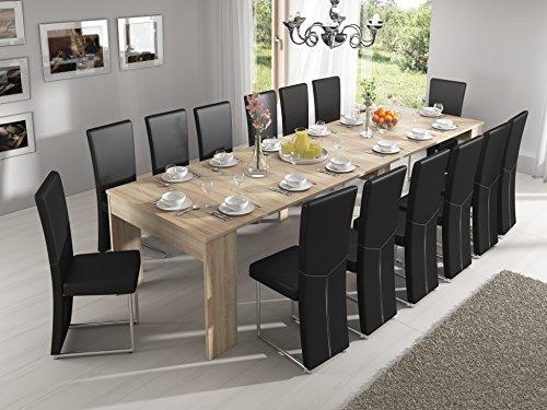 Home Innovation – Ausziehbarer Konsolentisch, Esstisch, bis 301 cm, Eiche hell, Maße geschlossen: 90 x 49 x 75 cm Höhe.