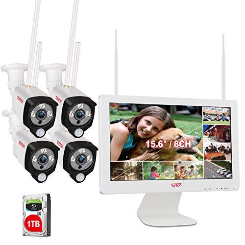 【LED Strahler & PIR AI Wärmesensor】Tonton 3MP WLAN Überwachungskamera Set Außen 8CH 15.6'Monitor Videoüberwachung 4Stk. WLAN IP Funk Überwachungskameras für Innen Außen 30M Nachtsicht 1TB Festplatte