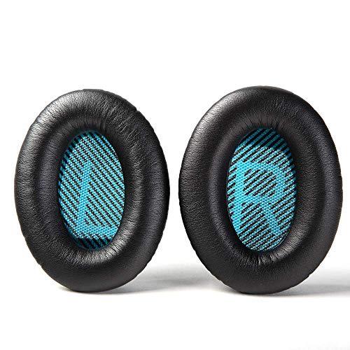 Wiki VALLEY Ersatz-Ohrpolster für Bose QC35/QC35ii/QC25/QC15/QC2/AE2/AE2i/AE2W Kopfhörer, Premium Ohrpolster für SoundLink SoundTrue Around-Ear2 – schwarzes Kissen + blaues Gitter