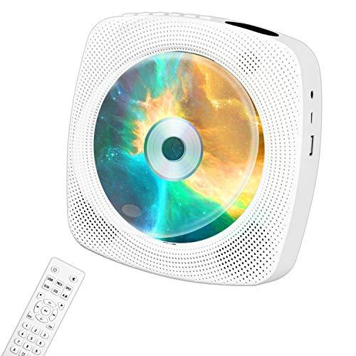 Tragbarer CD-Player von Ippinkan Drahtloser Wand-CD-Player mit integriertem 4000-mAh-Akku/ HiFi-Bluetooth-Lautsprecher/ FM-Radio/ Home Boombox/ 3,5-mm-AUX-Buchse/ USB-Anschluss/ SDKarte/ Fernbedienung