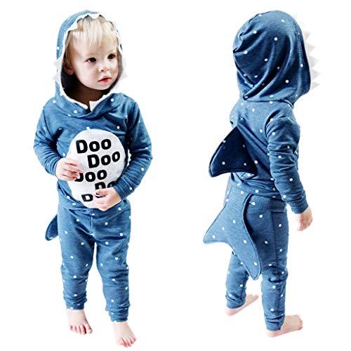 Baby Pullover Kinder Tier Kostüm Mädchen Jungen Kapuzenpullover Outfit, Jacke Mit Haifisch Schwanz Ohr, Junge Sweatshirt Langarmshirt Streetwear Blau Größe 90-130 (100/18-24 M, Top Und Hose)