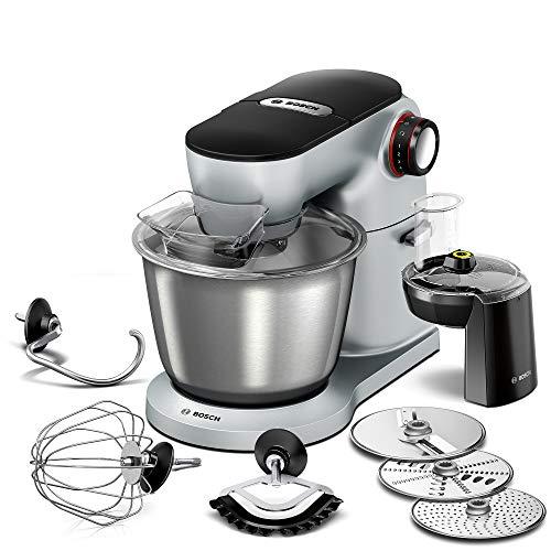 Bosch Küchenmaschine OptiMUM MUM9D33S11, Edelstahl-Schüssel 5,5 L, Planetenrührwerk, Profi-Knethaken, Schlag-, Silikonbesen, 7 Arbeitsstufen, Durchlaufschnitzler, 3 Scheiben, 1300 W, silber