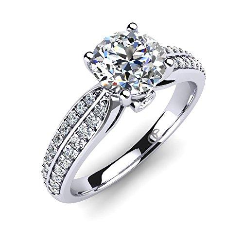 Moncoeur Ring Promise + Silberner Pave Solitärring + Trauringe + Verlobungsring für Damen Freundin mit Cubic-Zirkonia-Steinbesatz + für Ihre Liebste + ausgezeichnete Maße und Geschenk-Box (48 (15.3))